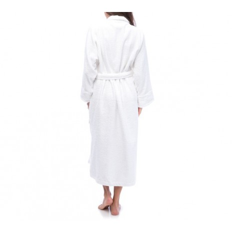 100% Cotton White Bathrobe with a shawl- collar