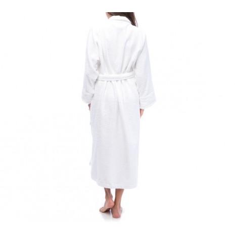 Peignoir blanc éponge 100% Coton avec col châle