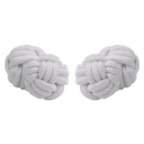 Boutons de manchette blancs nœud de soie