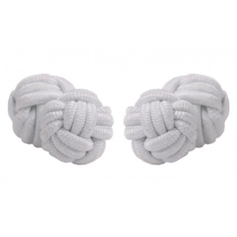 White cufflinks with double round knots