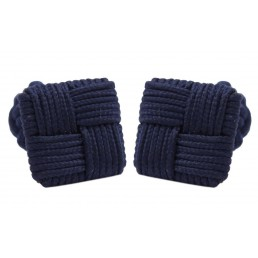 Donker blauwe zijden manchetknopen
