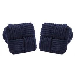 Dark blue silk knot Cufflinks