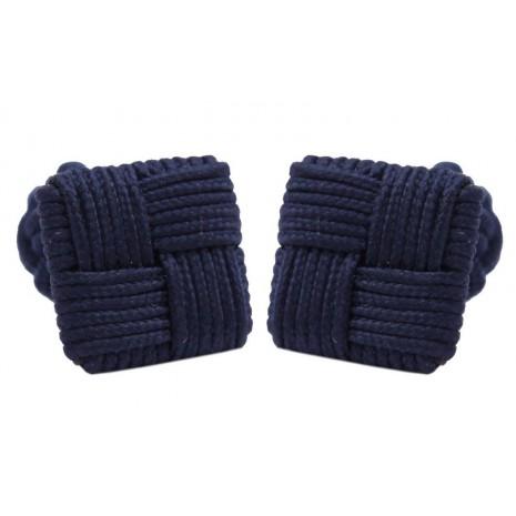 Boutons de manchette carrés tressés bleu marine