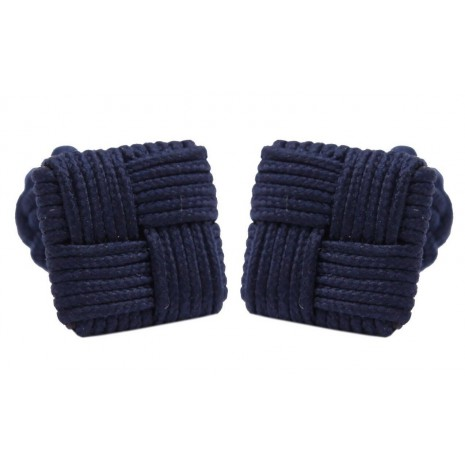 Dark blue silk knot Cufflinks
